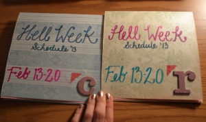 Hell Week schedules that I made for my Hellees