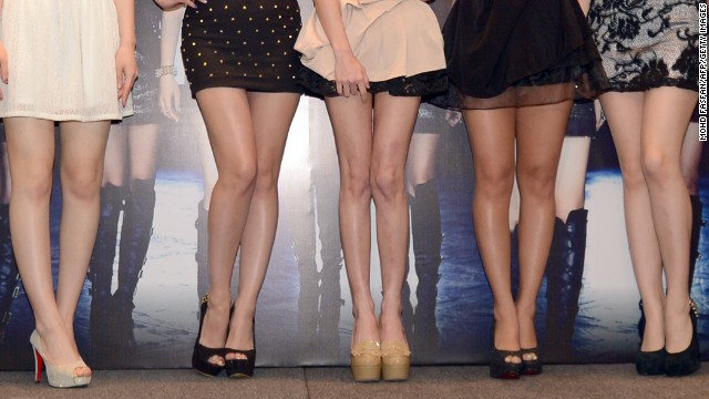 Korean pop girl group, T-Ara wearing mini skirts