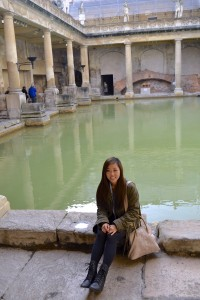 sitting and relaxing at the Roman Baths in Bath!