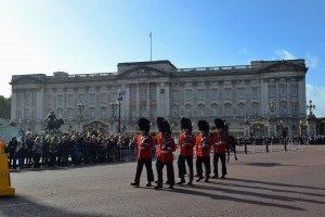Changing of the guards at Buckingham Palace!