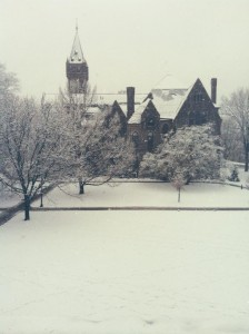 campus is still beautiful during snow season.