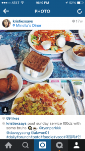 my instagram post of our meal at Minella's Diner!
